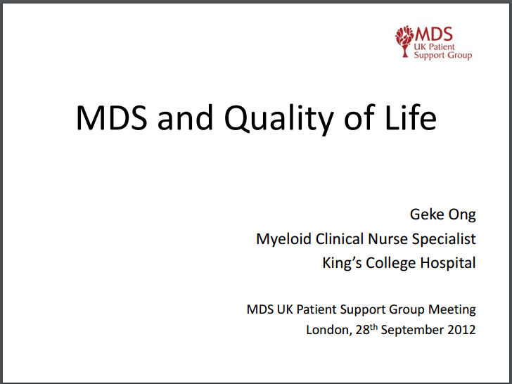 What Is Mds >> Mds And Quality Of Life Mds Uk Patient Support Group