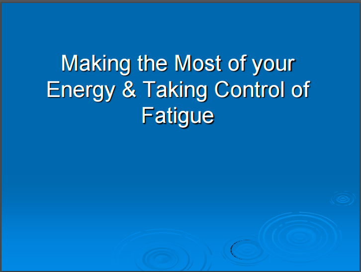 What Is Mds >> Energy And Fatigue Mds Uk Patient Support Group
