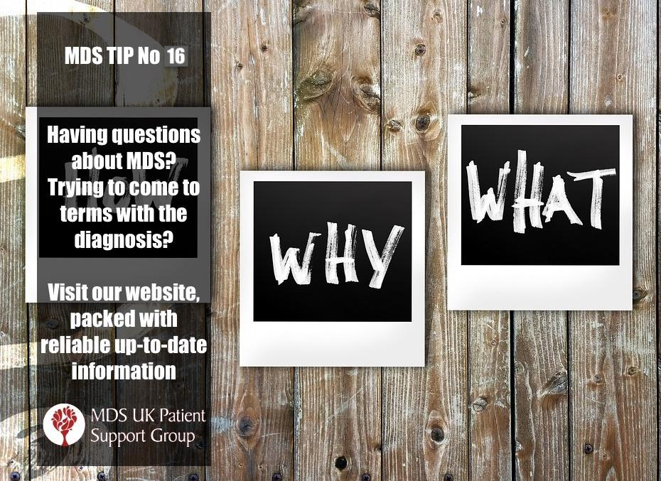 Having questions about MDS? Trying to come to terms with the diagnosis? Visit our website packed with reliable up-tp-date information