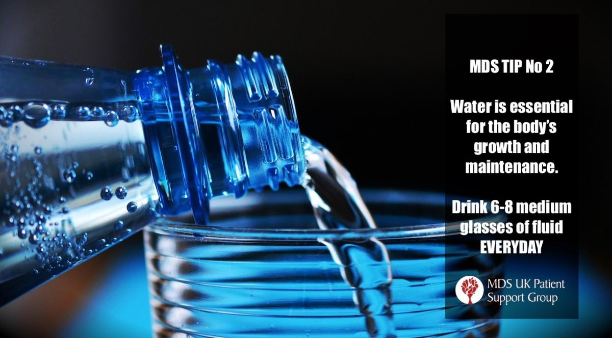 Water is essential for the body's growth and maintenance. Drink 6 to 8 medium glasses of fluid everyday