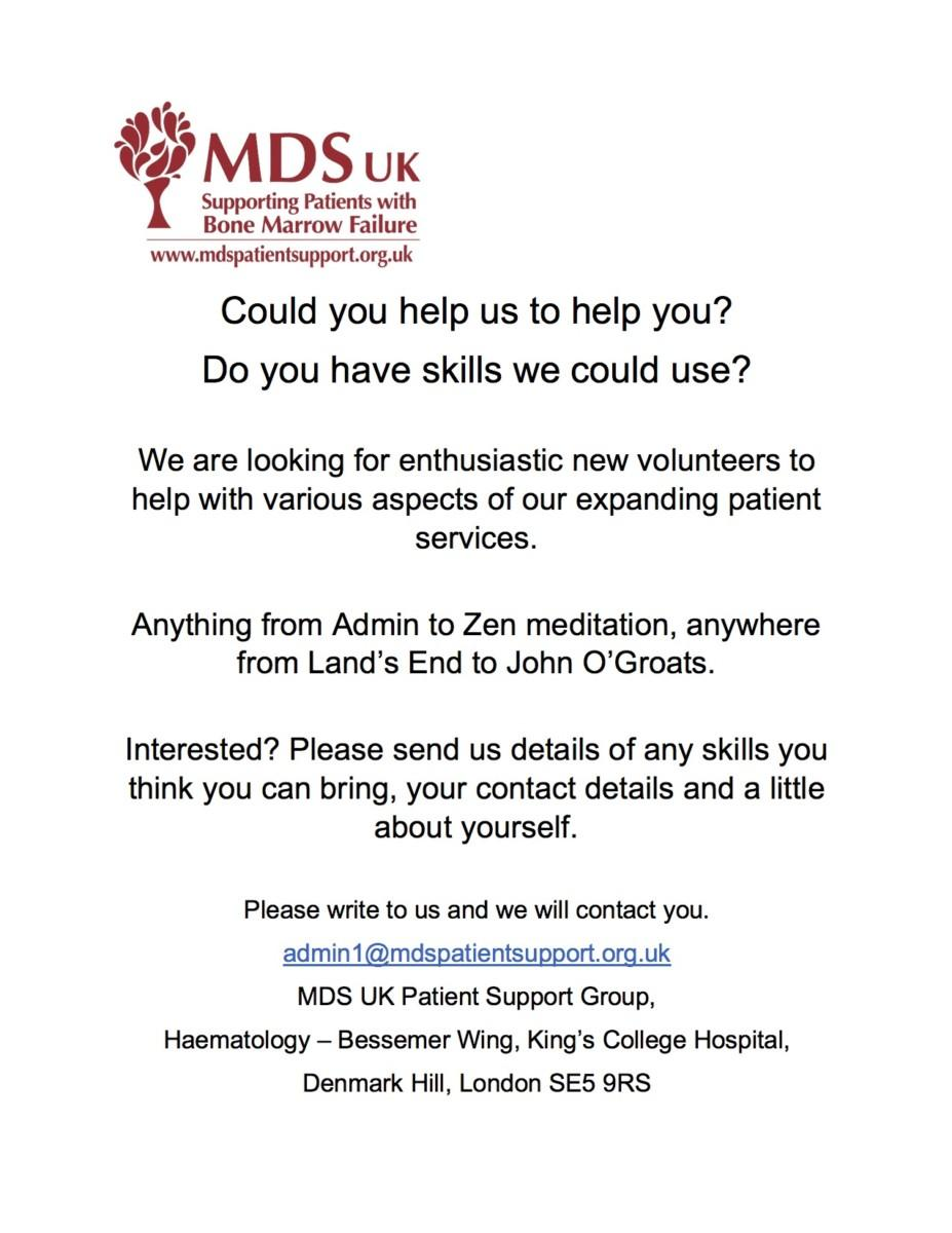MDS Volunteers Call