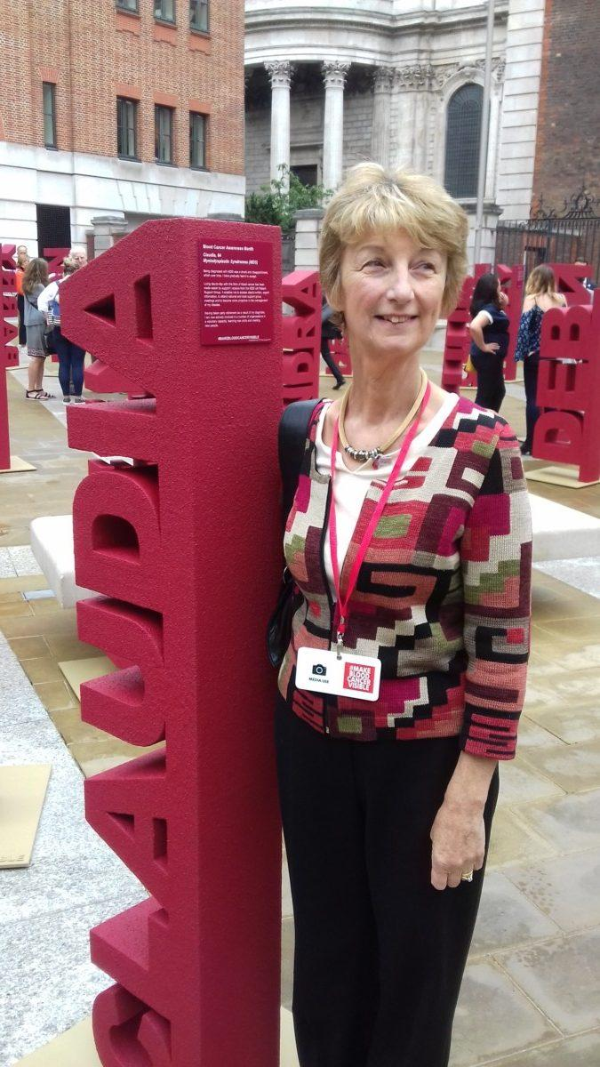 Claudia's display at Make Blood Cancer Visible