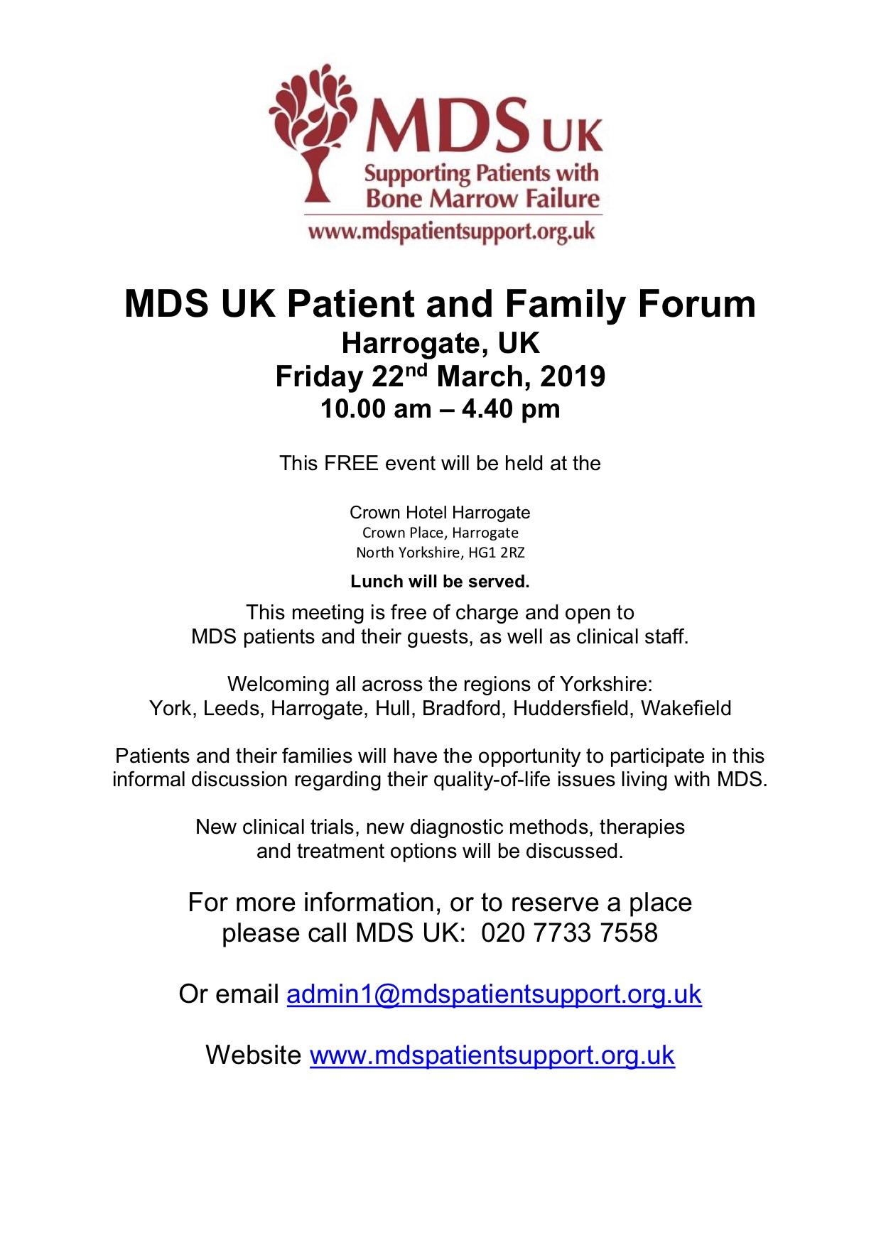 MDS UK Patient and Family Forum – Friday 22nd March 2019