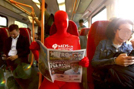 Spotted in London this morning: a mysterious figure raising awareness of MDS & blood cancer
