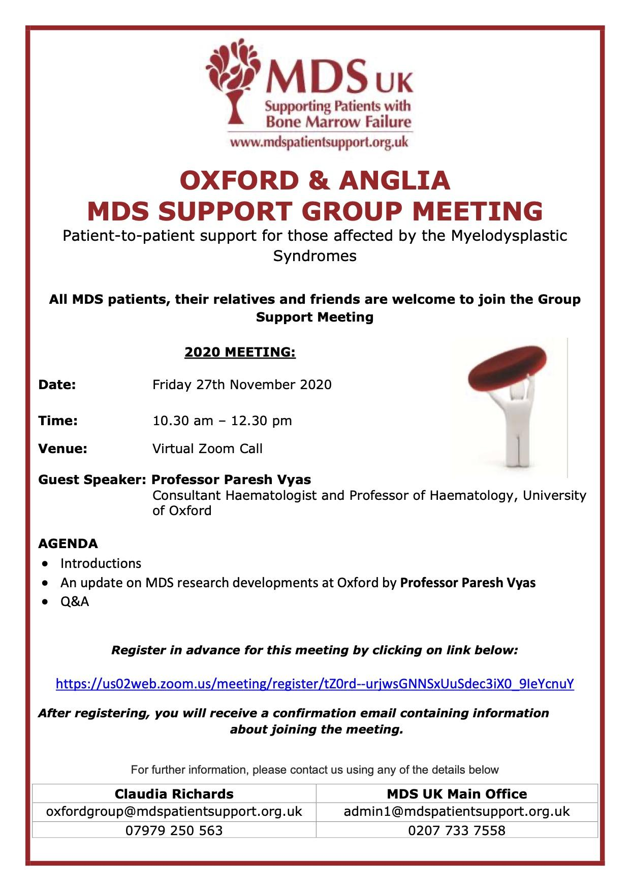 Oxford and Anglia Support Group - 2020 virtual meeting