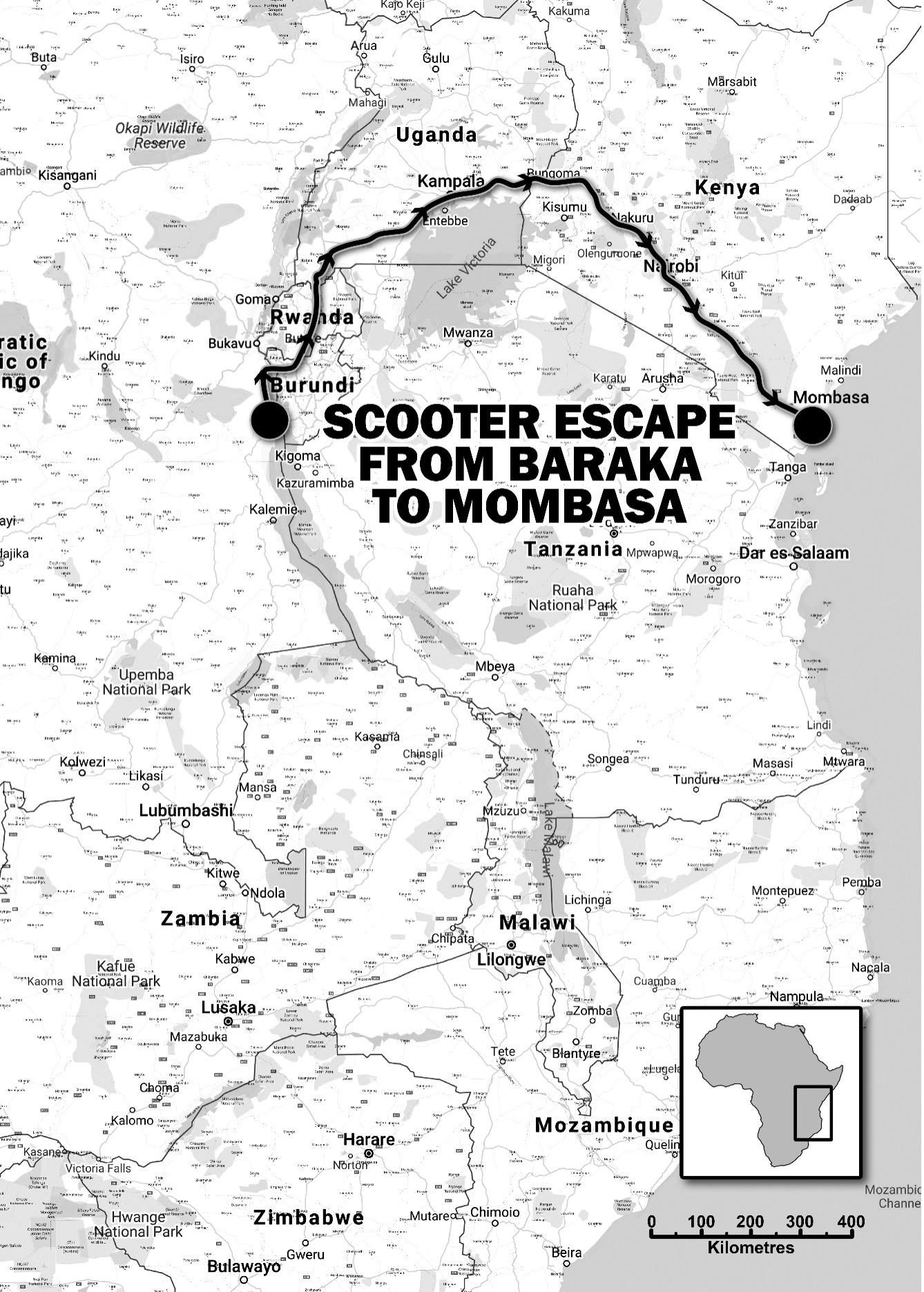 This is the route that Ron took on his escape, to become Twice a Refugee
